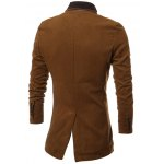 PU Stand Collar Single Breasted Wool Blend Coat for sale