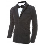 cheap Lapel Collar Zip Embellished Wool Blend Coat