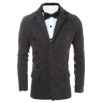 Lapel Collar Zip Embellished Wool Blend Coat