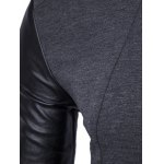 PU-Leather Splicing Zip-Up Jacket for sale