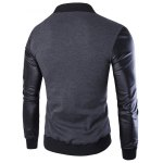 cheap PU-Leather Splicing Zip-Up Jacket