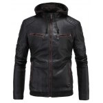 cheap Hooded Zip-Up PU-Leather Jacket