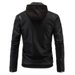Hooded Zip-Up PU-Leather Jacket deal