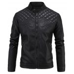 Embroidered Thicken PU-Leather Fleece Zip-Up Jacket