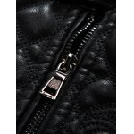 Embroidered Thicken PU-Leather Fleece Zip-Up Jacket for sale