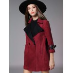 cheap Double Breasted 3/4 Sleeves Wool Coat