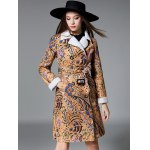 Slim Floral Print Long Belted Trench Coat
