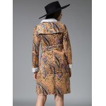 Slim Floral Print Long Belted Trench Coat deal