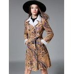 cheap Slim Floral Print Long Belted Trench Coat