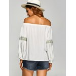Pullover Embroidered Off The Shoulder Blouse for sale