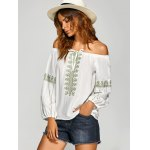 cheap Pullover Embroidered Off The Shoulder Blouse