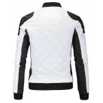 cheap Color Block Splicing Argyle Zip-Up Cotton-Padded PU-Leather Jacket