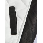 Color Block Splicing Argyle Zip-Up Cotton-Padded PU-Leather Jacket photo