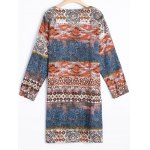 cheap Printed Long Sleeve Shift Tribal Dress