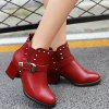 cheap Rivets Elastic Band Buckle Ankle Boots