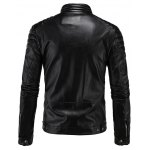cheap Rib Splicing Zip-Up Applique PU-Leather Jacket