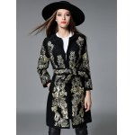 Slim Gold Thread Embroidered Long Belted Wool Coat