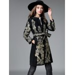 cheap Slim Gold Thread Embroidered Long Belted Wool Coat