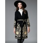 Slim Gold Thread Embroidered Long Wool Coat deal