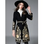 cheap Slim Gold Thread Embroidered Long Wool Coat