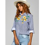 cheap Striped Shirt with Flower Embroidery