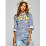 Striped Shirt with Flower Embroidery deal