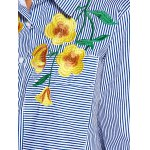 best Striped Shirt with Flower Embroidery