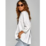 cheap Drop Shoulder Shirt with Embroidery