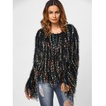 cheap Fringed Colorful Dot Sweater