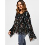 Fringed Colorful Dot Sweater deal