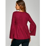 best Flare Sleeve Empire Waist Plain Blouse