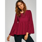 Flare Sleeve Empire Waist Plain Blouse deal
