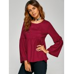 cheap Flare Sleeve Empire Waist Plain Blouse