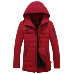 Multi Zippers Embellished Hooded Quilted Coat