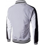cheap Color Block Splicing Striped Zip-Up Jacket