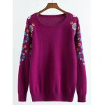 Raglan Sleeve Knitwear with Flower Pattern