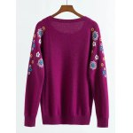 cheap Raglan Sleeve Knitwear with Flower Pattern