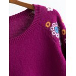 Raglan Sleeve Knitwear with Flower Pattern deal