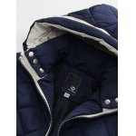 Hooded Zip-Up Argyle Pattern Padded Jacket for sale