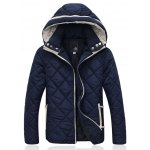 Hooded Zip-Up Argyle Pattern Padded Jacket