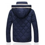 Hooded Zip-Up Argyle Pattern Padded Jacket deal
