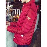 cheap Stand Collar Badge Embellished Zip-Up Padded Jacket