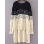 Round Neck Long Sleeve High-Low Ombre Loose Sweater