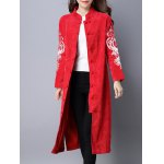 cheap Frog Button Embroidered Corduroy Long Coat