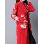 Frog Button Embroidered Corduroy Long Coat deal