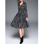 Vintage Lapel Collar Long Belted Lace Skater Coat deal