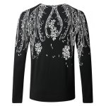 cheap Floral Print Long Sleeve Pullover Sweater