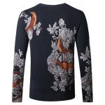 cheap Birds Floral Print Pullover Sweater