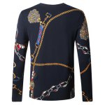 cheap Wolf Chain Print Pullover Sweater