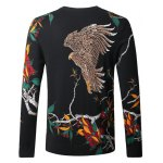 cheap Eagle Floral Print Pullover Sweater